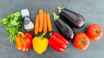 Тушеные овощи с баклажанами